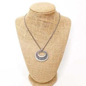 Brighton Silver Woven Chevron Oval Necklace